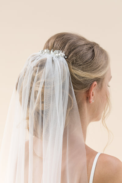 Rainbow Club Indigo veil is a stunning train length sheer wedding veil a silver embellished comb