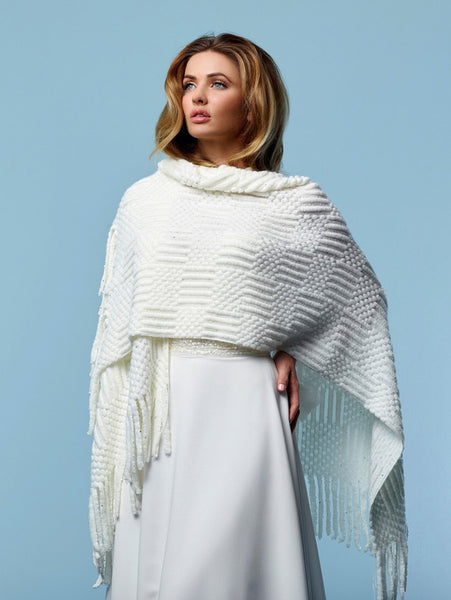 Knitted Bridal Stole S162 by Poirier is a stunning bridal stole with a thick knitted pattern