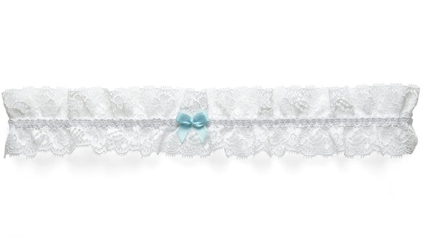 Delicate Lace Bridal Garter with a Blue Bow