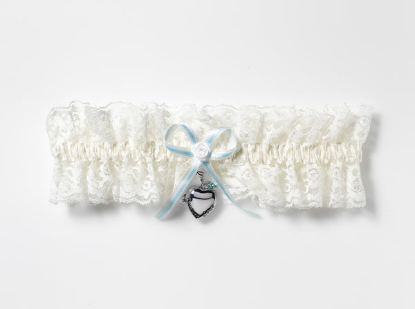 'Forever Love' Lace Bridal Garter & Locket