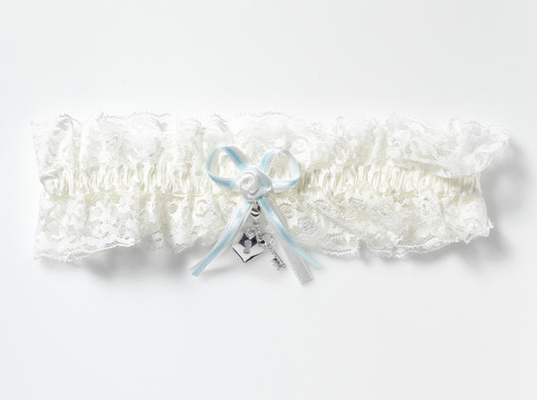 'Heart Shaped Lock & Key' Lace Bridal Garter & Charms