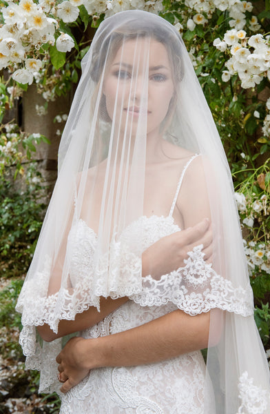 'Knightsbridge' Embroidered Lace Veil - NEW for 2018