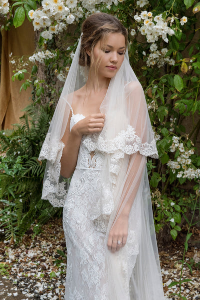 'Knightsbridge' Embroidered Lace Veil