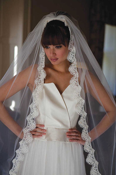 'Latina Scalloped Lace Edge Veil