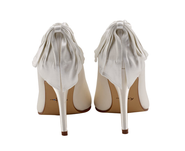 Lillie bow detail ivory satin shoes by Rainbow Club for Pink Daisy Bridal
