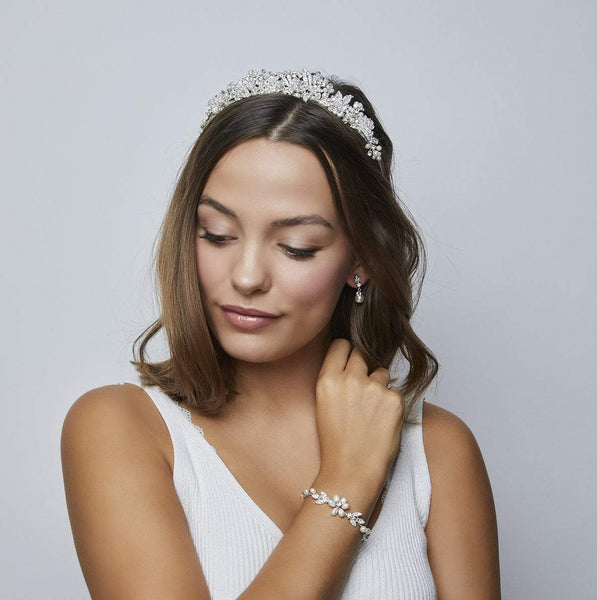 Pink Daisy Bridal brings you the stunning Liv Pearl & Diamante Tiara