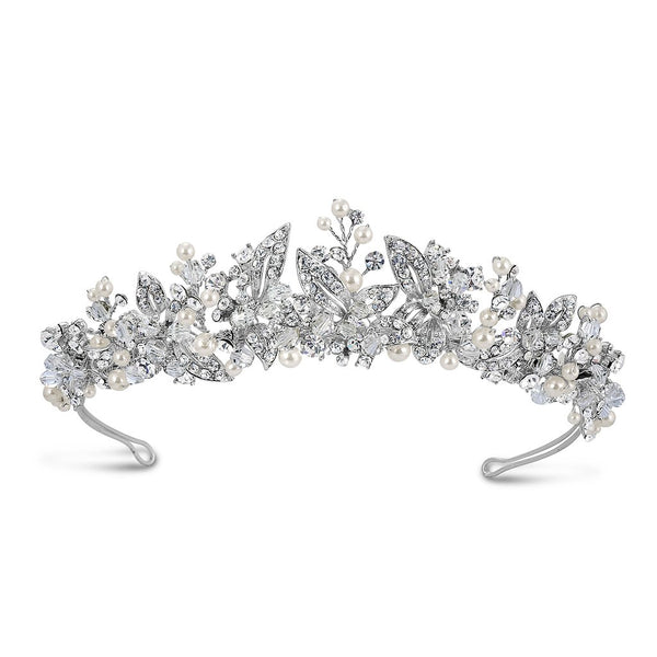 'Liv' Pearl and Diamante Traditional Tiara