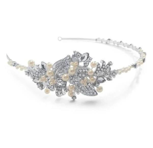 Lola Side Tiara from Pink Daisy Bridal combines both sparkling diamanté stones & ivory pearl
