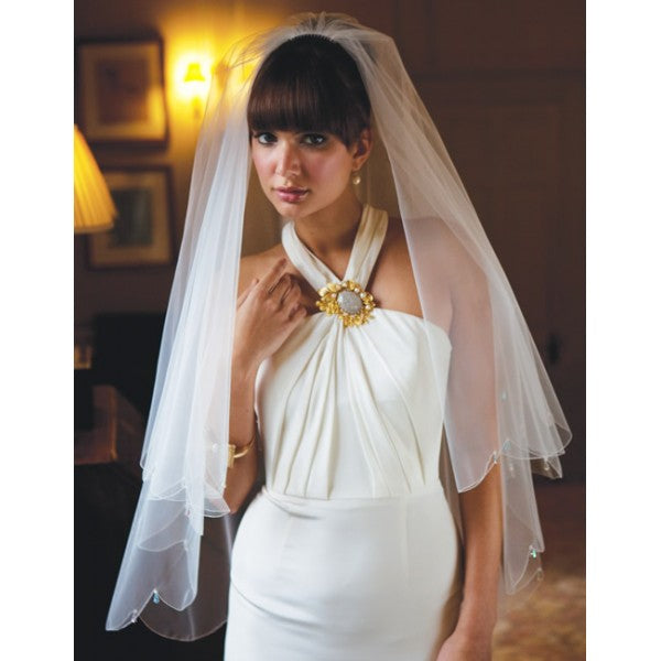 'Lyon' Scalloped Edge Veil with Crystal Drops