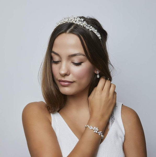 Pink Daisy Bridal we have the refined Monaco Freshwater Pearl & Crystal Tiara from Starlet Jewellery