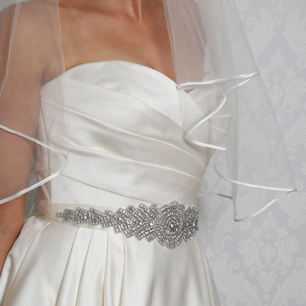 Crystal Rhinestone & Silver Beads Bridal Belt