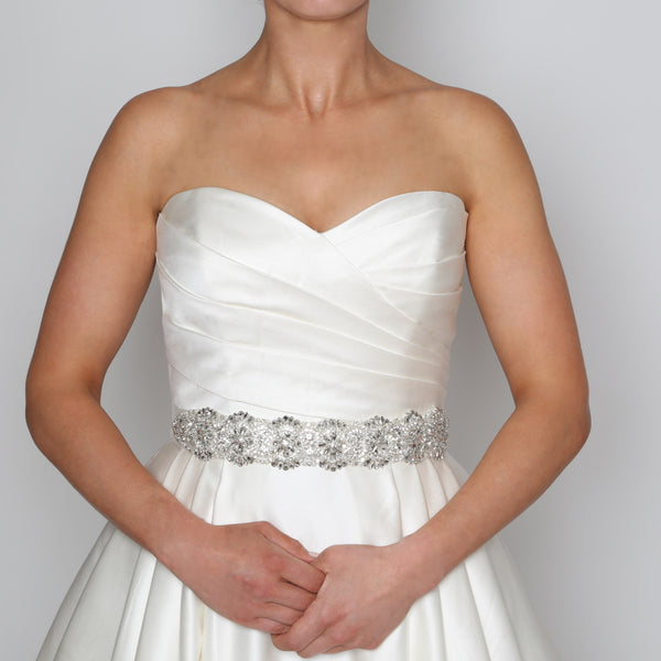 Pearl, Crystal & Silver Bead Bridal Belt