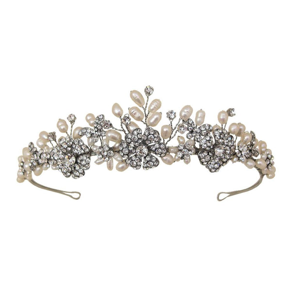 Papillon is a beautiful vintage style Tiara made with natural freshwater pearls and crystal