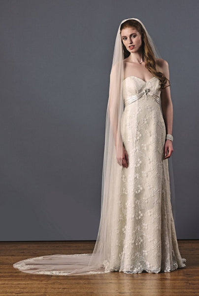 'Paradise' Single Tier Veil with Beaded Motifs