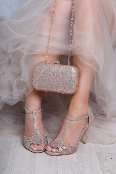 Perla gold crystal encrusted sandal by the perfect bridal company for Pink Daisy Bridal