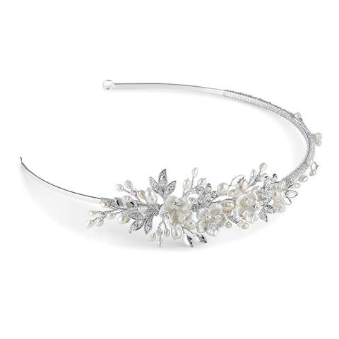 Petal side detail tiara embellished with white ceramic flowers and sumptuous freshwater pearls