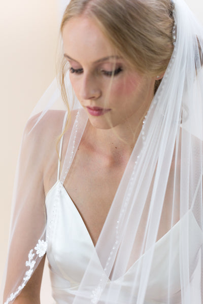 "Rainbow Club's Poppy is beautiful 96"" length veil with delicate lace & pearl embellished edge"