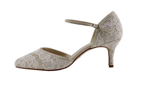 Priscilla shimmer lace ankle strap court shoe by Rainbow Club for Pink Daisy Bridal