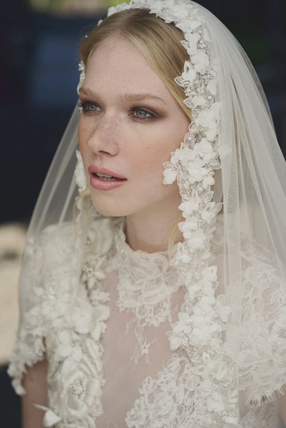 'Soho' Single Tier Floral Waist Length Veil - NEW Pick of the Week