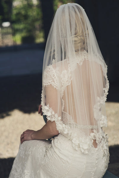 'Soho' Single Tier Floral Waist Length Veil