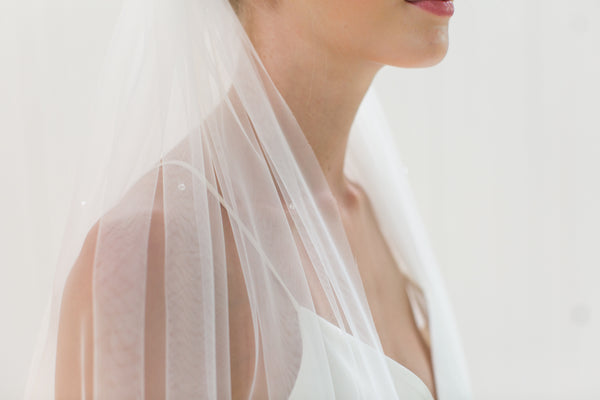 "Rainbow Club's Starfire is a beautiful single tier 88"" bridal veil for Pink Daisy Bridal"