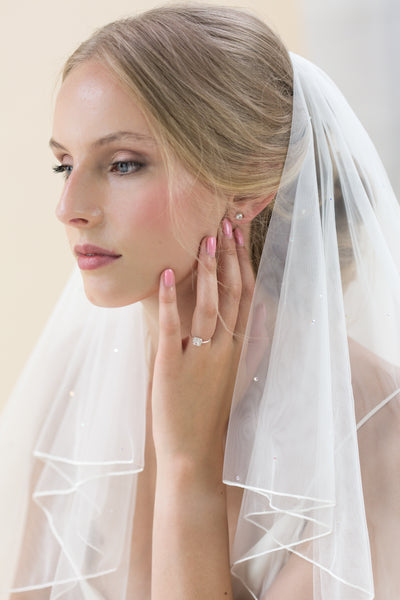 "Rainbow Club's Sundial is an exquisitely adorable 2 tier 54"" veil in Italian tulle Pink Daisy Bridal"