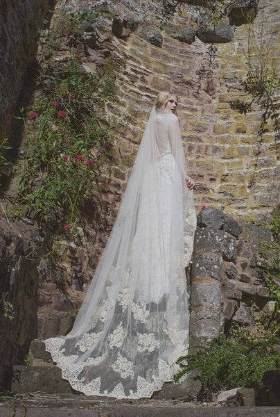 'Windsor' Chapel Length Veil with Beaded Lace Motifs