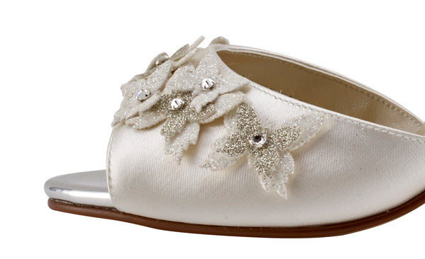 Zarah strappy sandal ivory satin shoe by Rainbow Club for Pink Daisy Bridal