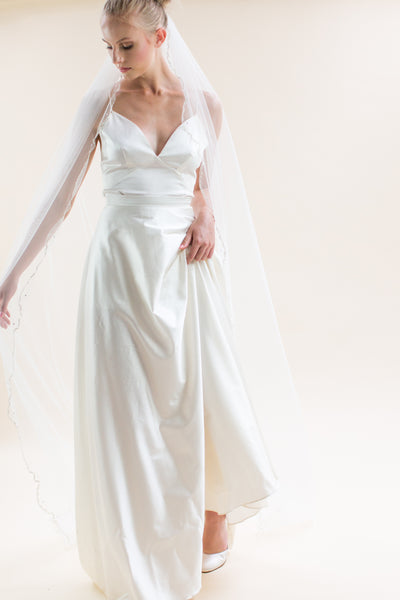 "Rainbow Club Zinnia is an art deco inspired 96"" full length wedding veil for Pink Daisy Bridal"