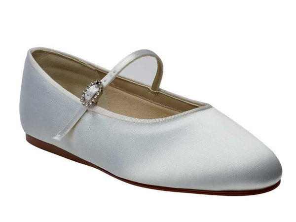 'Abigail' White Satin Bar Style Girls Shoes Sale