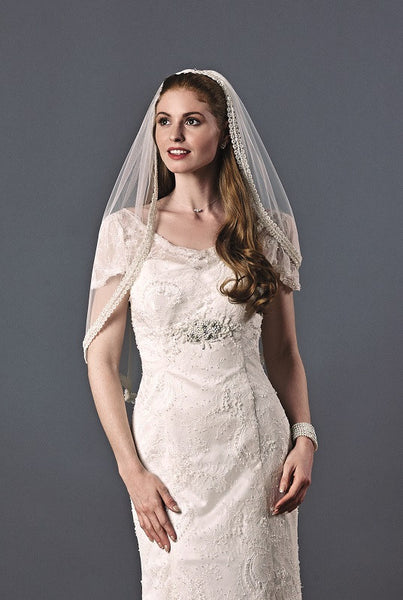 'Arleta' Single Tier Beaded Wedding Veil