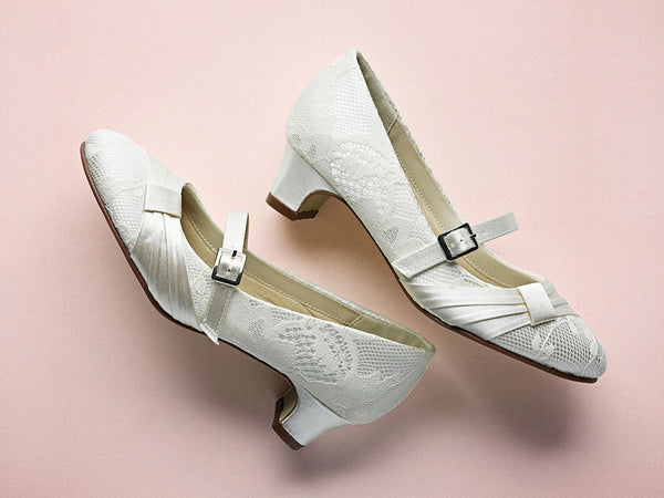 'Delilah' Ivory Lace Covered Kids Shoes