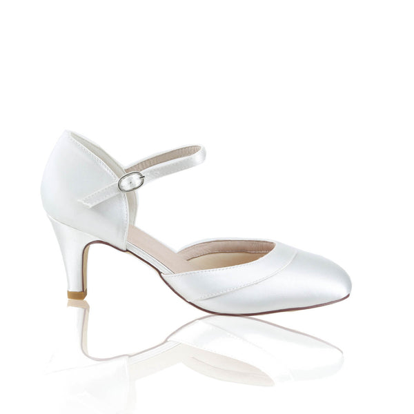 Elsa ivory satin bridal shoe by the perfect bridal company for Pink Daisy Bridal