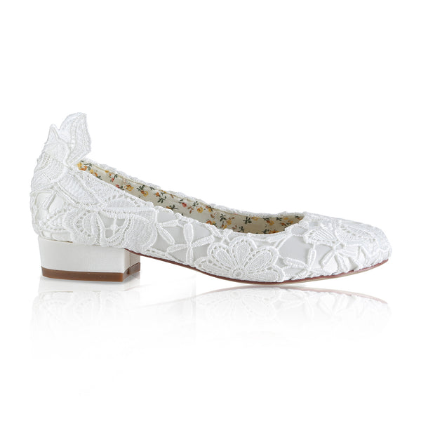 Fern ivory lace bridal flat shoe by the perfect bridal company for Pink Daisy Bridal
