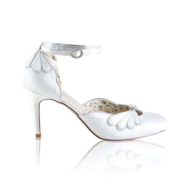 Perfect Bridal Company Shoe collection, the lovely Leona is an open waisted bridal court shoe