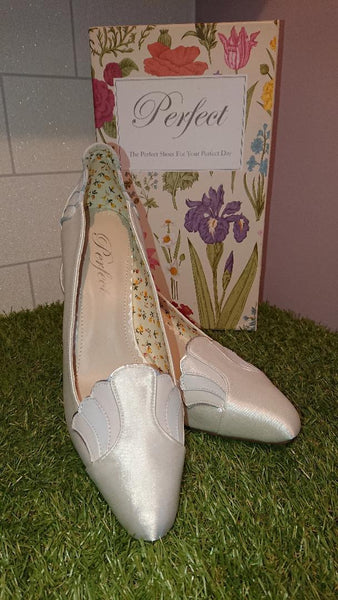 Perfect Bridal Shoe collection, Libby is an elegant satin and leather trim court shoe