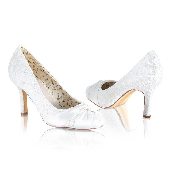 Lily is one of our best sellers in the Perfect Bridal Shoes collection, with beautiful ivory lace
