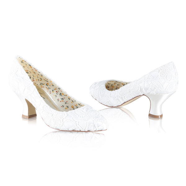 'Mable' Lace Vintage Inspired Court Shoe
