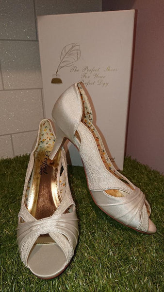 Perfect Bridal Shoe collection, Maggie is an elegant satin and lace open toe shoe shoe