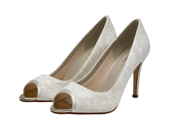 Noni classic lace peep-toe shoe by Rainbow Club for Pink Daisy Bridal