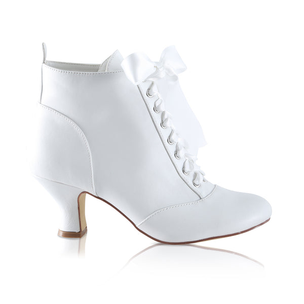 Norah Leatherette bridal ankle boot by the perfect bridal company for Pink Daisy Bridal