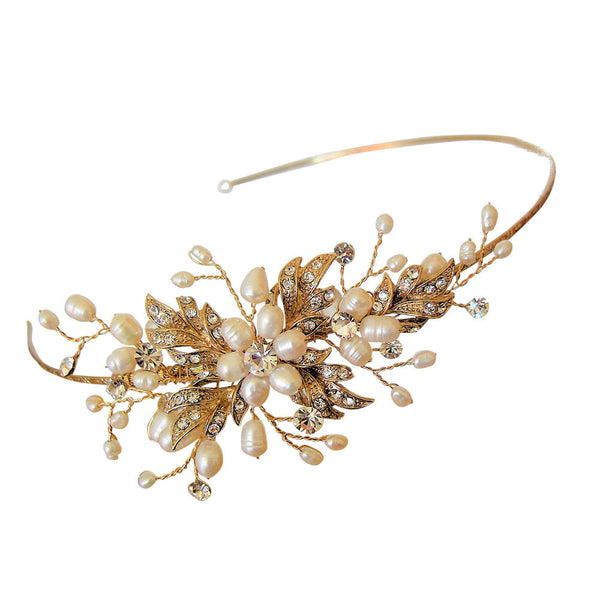 'Paris' Antique Gold Side Detail Tiara