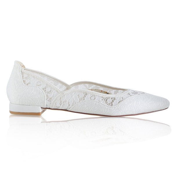 Primrose lace open toe bridal shoe by the perfect bridal company for Pink Daisy Bridal