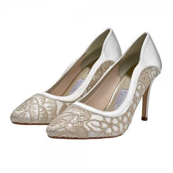 Lorna shoe is a beautifully romantic court shoe in ivory satin and gold embroidered tulle