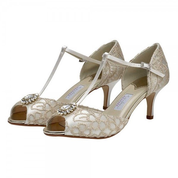 Marie by Rainbow Club is crafted from ivory satin, vintage style gold embroidery detail