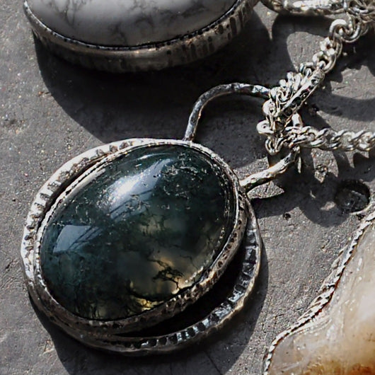 Green Moss Agate and Silver Handmade Pendant on a 20