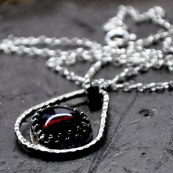 Handmade Heart Shaped Indian Garnet and Silver Pendant on an 18