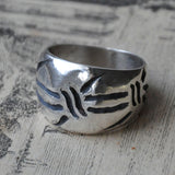 Hand-carved Barbed Wire Ring - UK Size P (US Size 7.5)