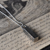 Handmade Block Drop pendant in Hammered/ Oxidised Silver, Pendants - the nine of hearts jewellery