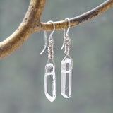 Sterling Silver and Clear Quartz Crystal Handmade Drop Earrings (Set 1)